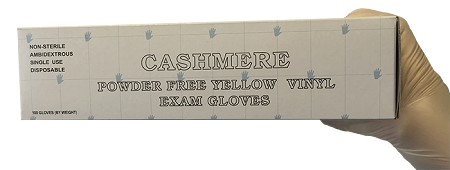 Cashmere Powder Free Stretchy Vinyl Exam Gloves