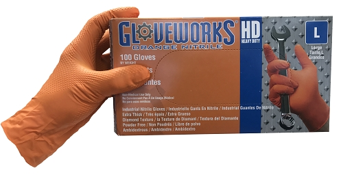 AMMEX Gloveworks Heavy Duty Orange Nitrile Gloves