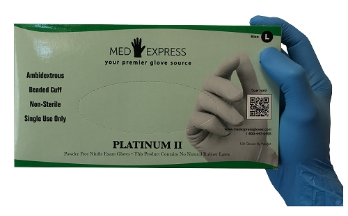 Platinum II Powder Free High Performance Nitrile Exam Gloves